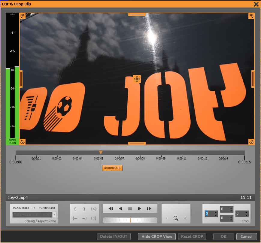 PLAYDECK Professional Video Playback Playout Software for Windows * Cut Crop Clip