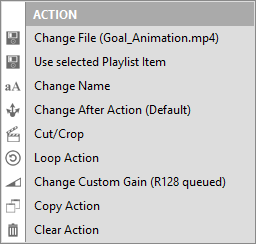 PLAYDECK Professional Video Playback Playout Software for Windows * Action Button Options Rightclick