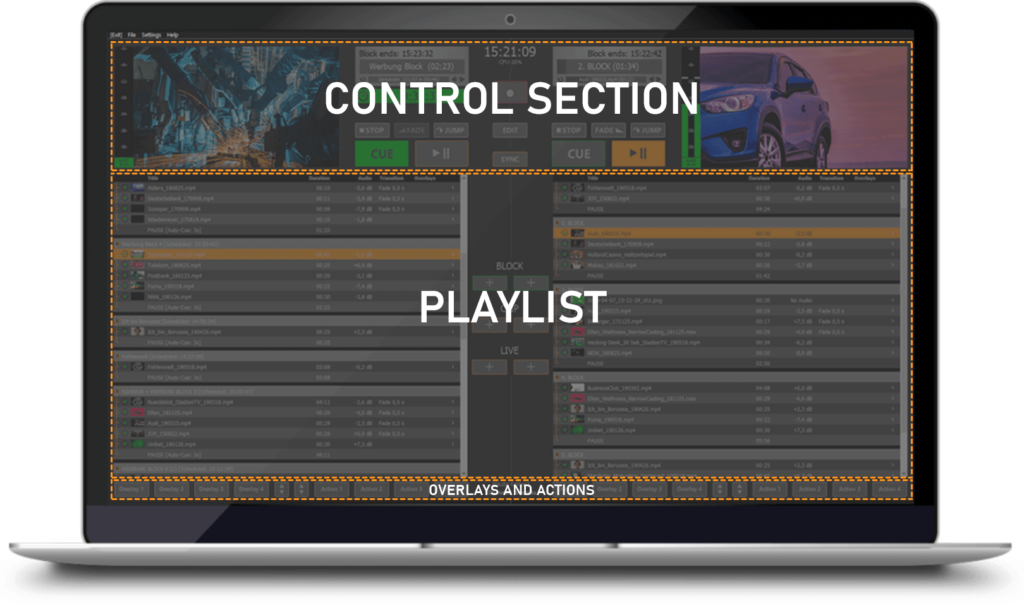PLAYDECK Professional Video Playback Playout Software for Windows * User Interface with two Playlists, Control Section and Overlay and Action Buttons