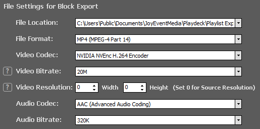PLAYDECK Professional Video Playback Playout Software for Windows * Playlist Export