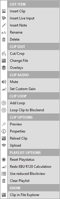PLAYDECK Professional Video Playback Playout Software for Windows * Playlist Item Option Settings Several Right Click