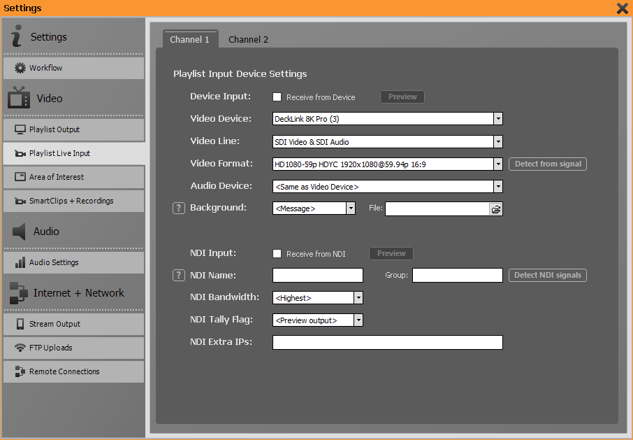 PLAYDECK Professional Video Playback Playout Software for Windows * Playlist Live Input